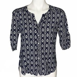 Skies Are Blue Button Up Printed Blouse Blue